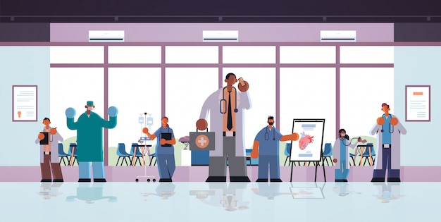 Different clinic hospital workers mix race doctors in uniform working together medicine healthcare concept modern hospital clinic office interior full length flat horizontal vector illustration