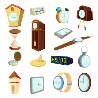 Different clocks icons set, cartoon style