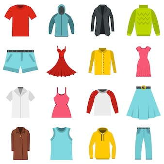 Different clothes set flat icons