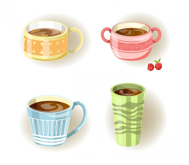 Different coffee, tea or soup cups and mugs