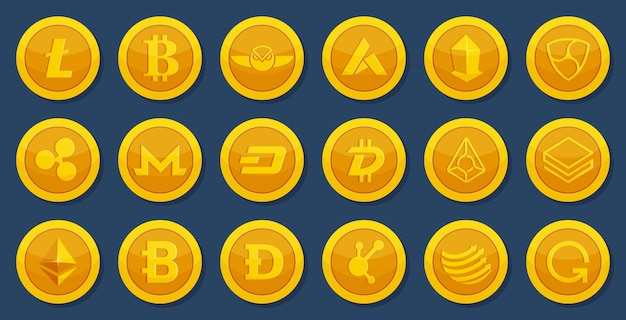 Different coins of crypto currency. virtual electronic money. bitcoin pictures in cartoon style