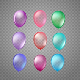 Different color air balloons isolated on tranparent