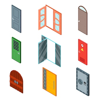 Different color closed and open front doors to building set isometric view ready for your business. vector illustration