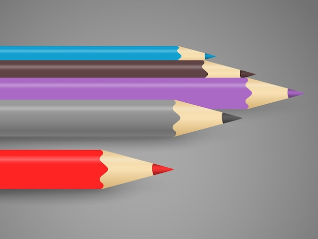 Different color crayons in a line. art concept