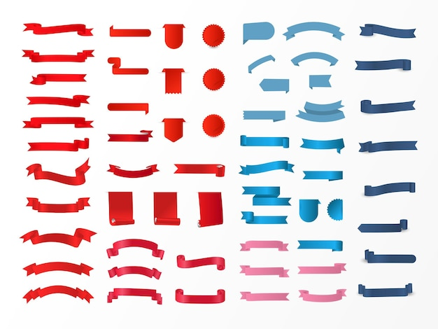 Different color glossy ribbon collection as tag, label and bookmark on white background.