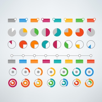 Different color infographic elements vector clipart vector template for presentation