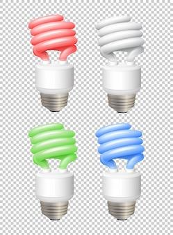 Different color lightbulbs on transparent background illustration