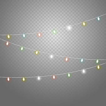 Different color lighting garland vector set isolated on transparent background.  christmas lights vector collection. glowing lamps vector set