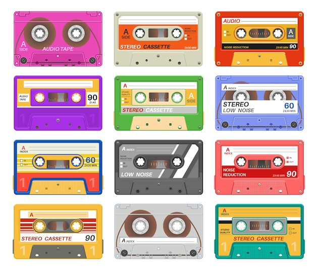 Different color music tape retro audio cassette