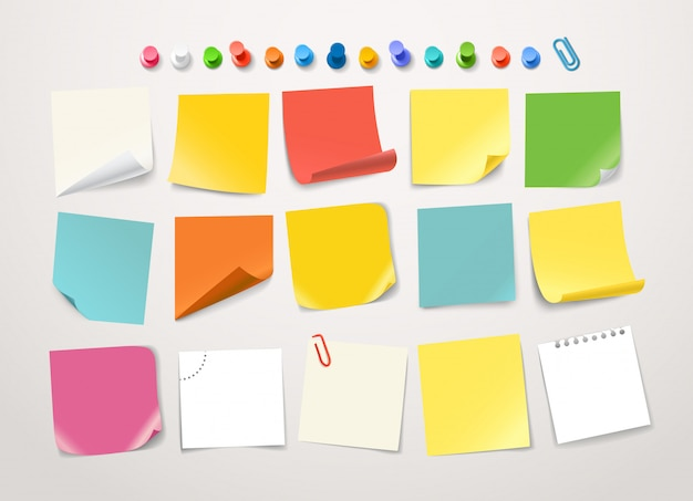 Different color paper stickers collection.