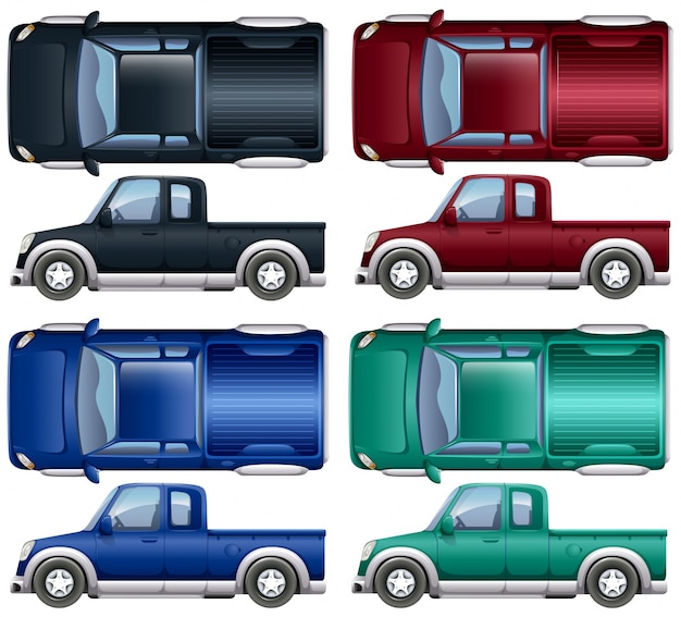 Different color of pick up trucks illustration