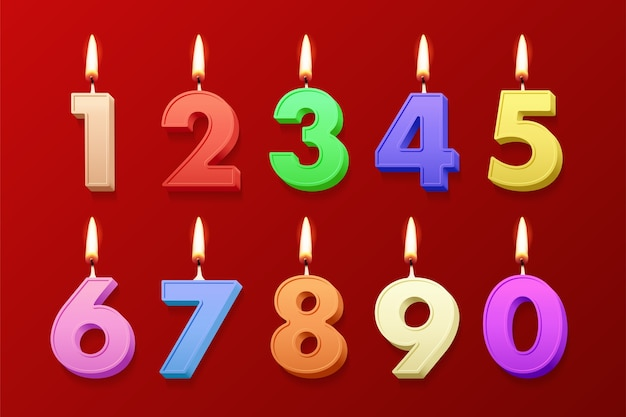 Different color realistic birthday candles with burning flames on red background.