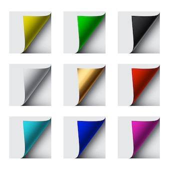 Different color sheet curl corners on white background.