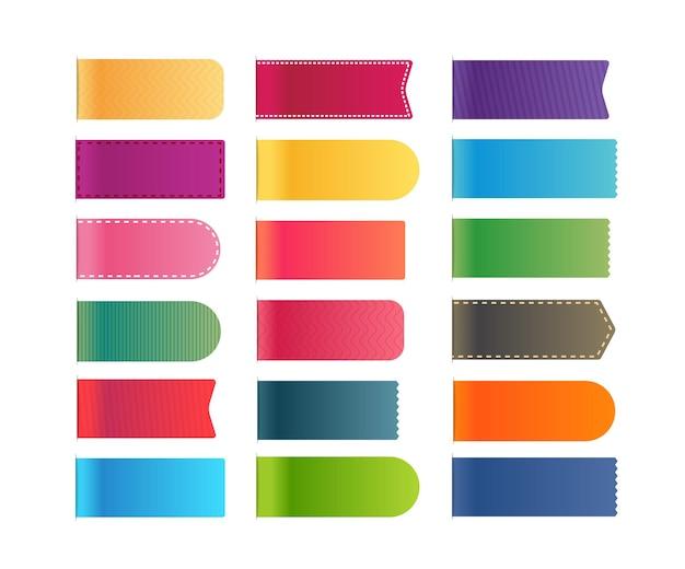 異なる色のショッピングタグは、白で隔離のクリップアートをベクトルします。テキストの準備ができました