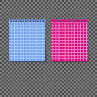 투명 한 배경에 나선형으로 연결 된 다른 색된 빈 종이.