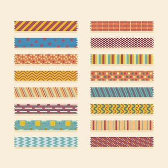Different colored flat washi tapes set