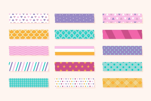 Different colored flat washi tapes