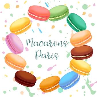 Разноцветные французские миндальные печенья. иллюстрации.