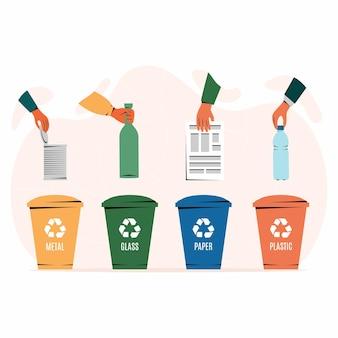 재활용에 적합한 종이, 플라스틱, 유리 및 금속 폐기물이 있는 다양한 색상의 쓰레기통. 쓰레기 분리, 쓰레기 분류, 쓰레기 관리. 흰색 배경. 그림, 평면 스타일입니다.