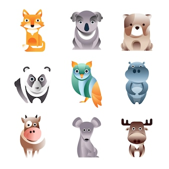 Different colorful animals set, geometric  style  illustrations