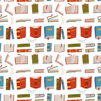 さまざまなカラフルな本のシームレスなパターン。