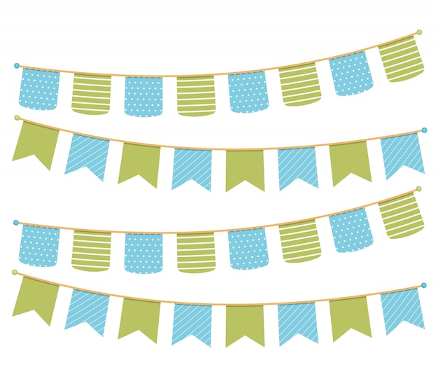 Different colorful bunting for decoration of invitations, greeting cards etc, bunting flags
