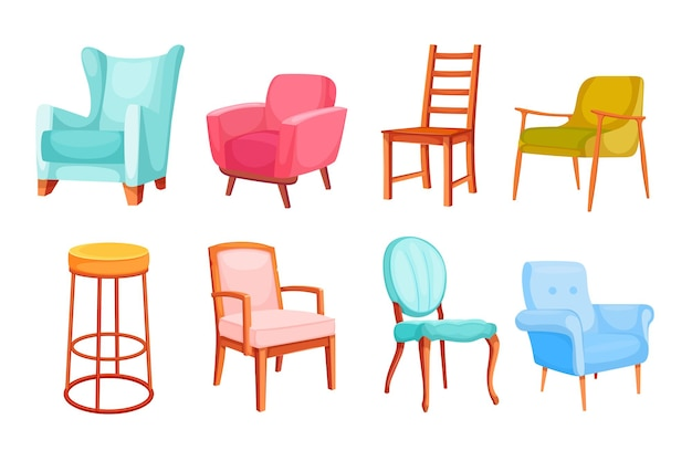 Different colorful chairs and armchairs illustration