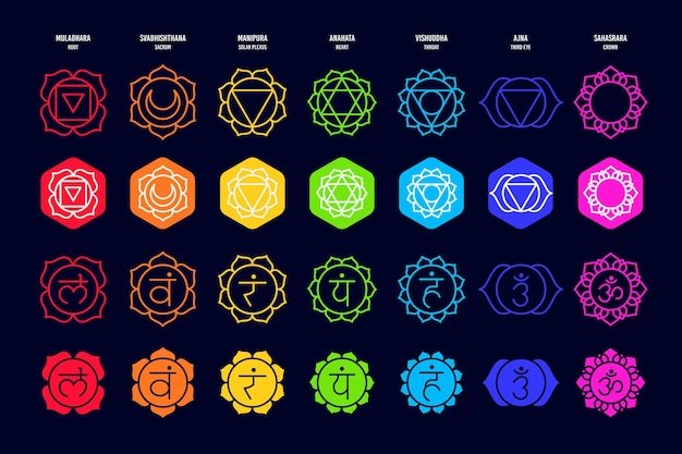 Different colorful chakras collection