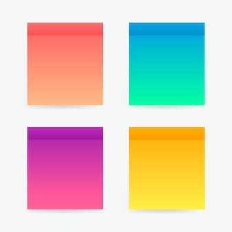 Different colorful post note stickers. sticky tapes with shadow template. post note paper. place any text on it