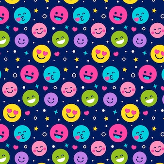 Different colorful smile emoticons pattern