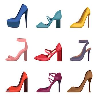 다른 다채로운 여성 신발 세트. 하이힐 스틸레토 여성 신발 컬렉션. 소녀 용 패션 신발.