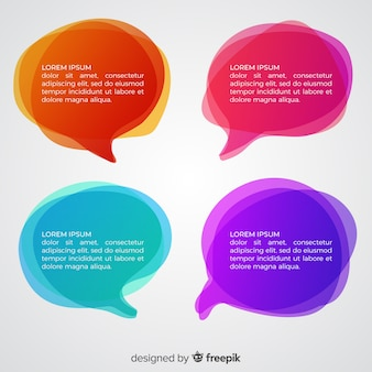 Different colors gradient speech bubbles