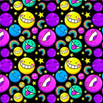 Different colourful emoticons pattern