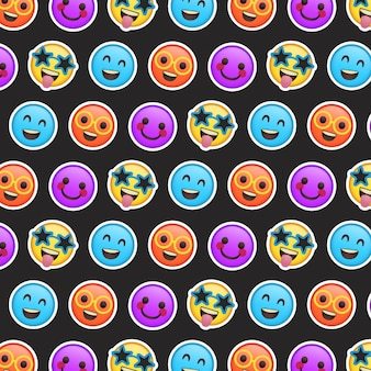 Different colourful smile emoticons pattern