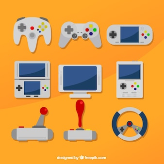 Different consoles on an orange background