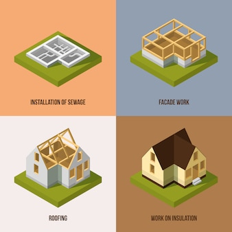 Different construction stages. isometric vector pictures