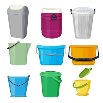 Different containers and buckets.