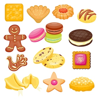 分離された異なるクッキーケーキ