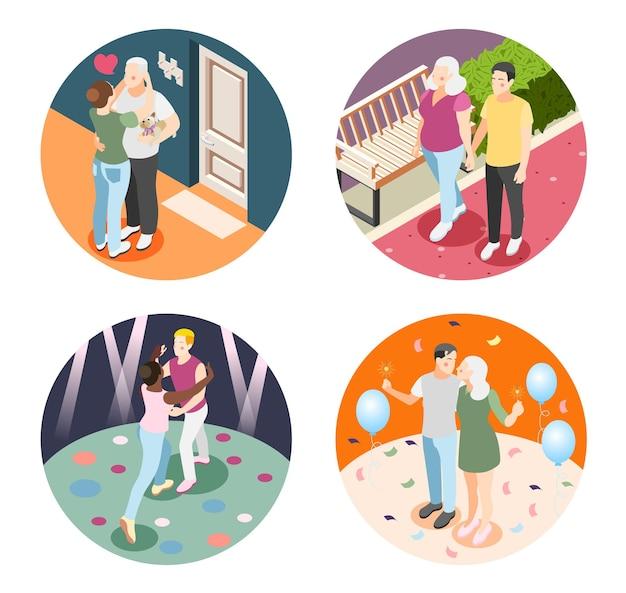 さまざまな国籍や年齢の幸せな人間のペアのさまざまなカップルのイラストセット