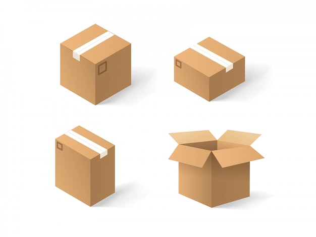 Different craft boxes vector set isolated on white background