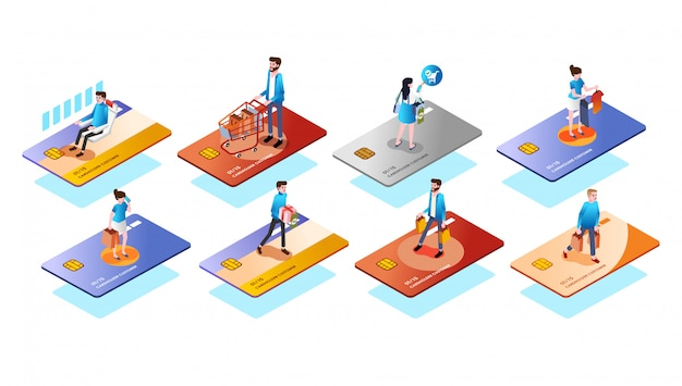 Different credit card type with people or customer on it, use the card for various needs isometric 3d illustration vector
