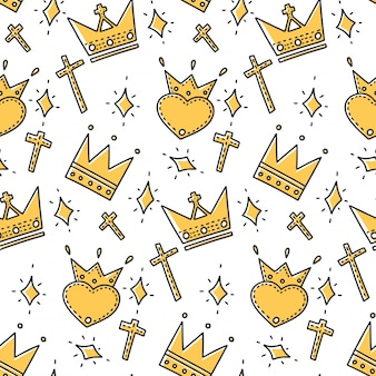 Different crowns in doodle and sketch style.