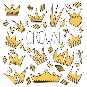 Different crowns  seamless pattern in doodle style.