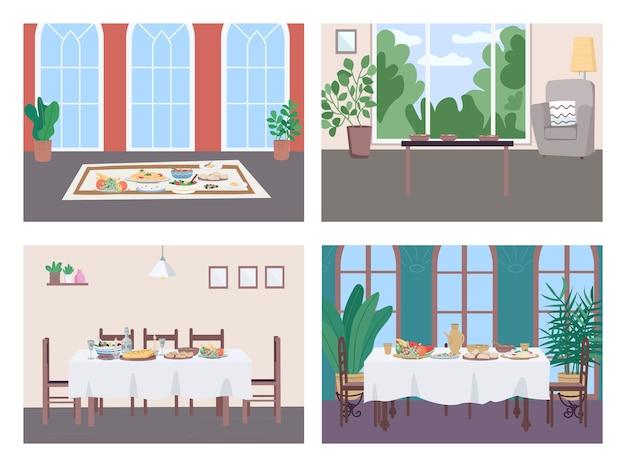 Different culture dinner flat color illustration set