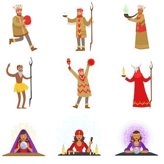 다른 문화 샤먼과 집시 점쟁이 신비로운 의식을 수행하는 만화 캐릭터 세트