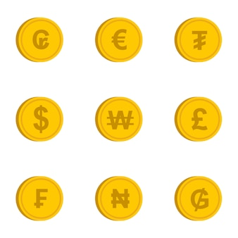 Different currency symbols set, flat style