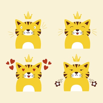 Different cute cat face expression vector flat illustration