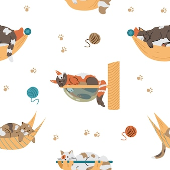 Different cute cats relaxing in hammocks seamless vector pattern.