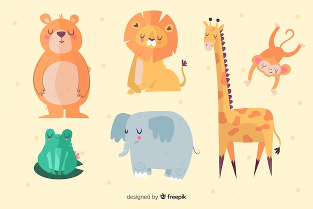 Different cute illustrated animals collection