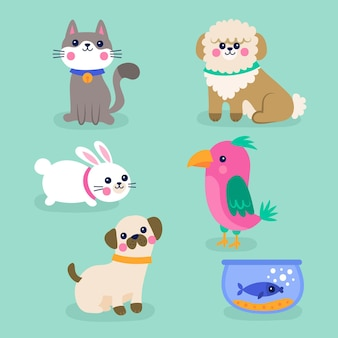 Different cute pets isolated on blue wallpaper